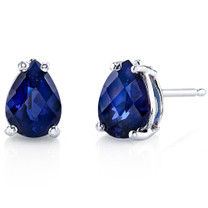 14 kt White Gold Pear Shape 2.00 ct Blue Sapphire Earrings E18564