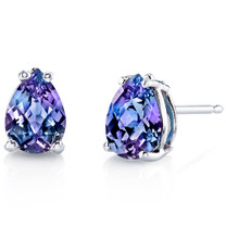 14 kt White Gold Pear Shape 1.75 ct Alexandrite Earrings E18568
