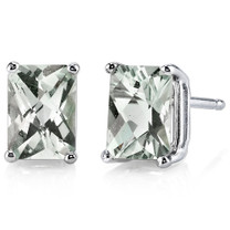 14 kt White Gold Radiant Cut 1.75 ct Green Amethyst Earrings E18580