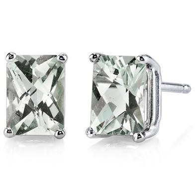 14 kt White Gold Radiant Cut 1.75 ct Green Amethyst Earrings E18580