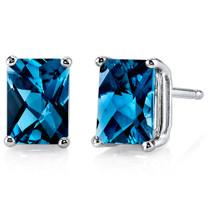 14 kt White Gold Radiant Cut 2.25 ct London Blue Topaz Earrings E18586