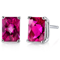 14 kt White Gold Radiant Cut 2.50 ct Ruby Earrings E18588