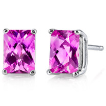 14 kt White Gold Radiant Cut 2.50 ct Pink Sapphire Earrings E18592