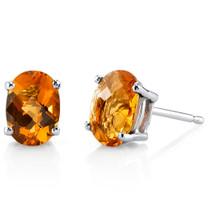 14 kt White Gold Oval Shape 1.5 ct Citrine Earrings E18606