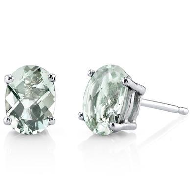 14 kt White Gold Oval Shape 1.50 ct Green Amethyst Earrings E18608