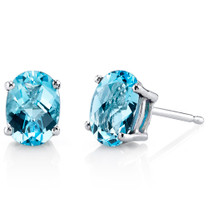 14 kt White Gold Oval Shape 2.00 ct Swiss Blue Topaz Earrings E18612