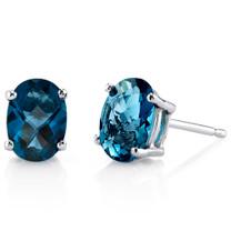 14 kt White Gold Oval Shape 1.75 ct London Blue Topaz Earrings E18614