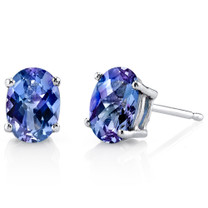 14 kt White Gold Oval Shape 2.00 ct Alexandrite Earrings E18622