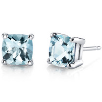 14 kt White Gold Cushion Cut 1.50 ct Aquamarine Earrings E18626