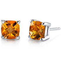 14 kt White Gold Cushion Cut 1.75 ct Citrine Earrings E18632