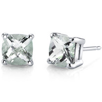 14 kt White Gold Cushion Cut 1.75 ct Green Amethyst Earrings E18634