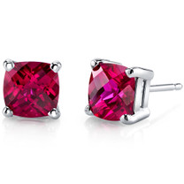14 kt White Gold Cushion Cut 2.50 ct Ruby Earrings E18642