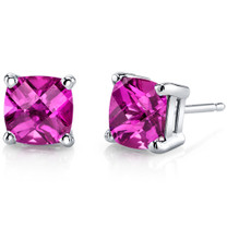 14 kt White Gold Cushion Cut 2.50 ct Pink Sapphire Earrings E18646