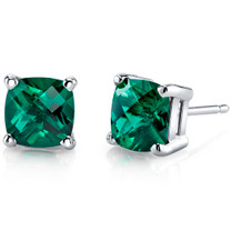 14 kt White Gold Cushion Cut 1.75 ct Emerald Earrings E18650