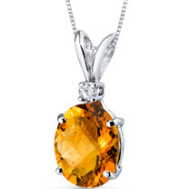 14 kt White Gold Oval Shape 2.25 ct Citrine Pendant P8924