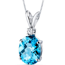 14 kt White Gold Oval Shape 3.00 ct Swiss Blue Topaz Pendant P8928