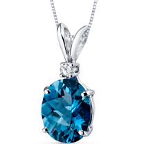 14 kt White Gold Oval Shape 3.00 ct London Blue Topaz Pendant P8930
