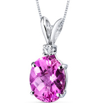 14 kt White Gold Oval Shape 3.50 ct Pink Sapphire Pendant P8936