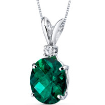 14 kt White Gold Oval Shape 2.50 ct Emerald Pendant P8940