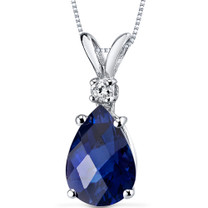 14 kt White Gold Pear Shape 2.50 ct Blue Sapphire Pendant P8954