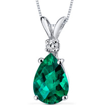 14 kt White Gold Pear Shape 1.75 ct Emerald Pendant P8960