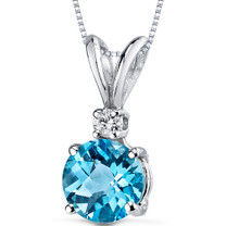 14 kt White Gold Round Cut 1.25 ct Swiss Blue Topaz Pendant P8972