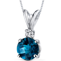 14 kt White Gold Round Cut 1.25 ct London Blue Topaz Pendant P8974