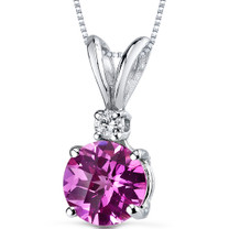 14 kt White Gold Round Cut 1.50 ct Pink Sapphire Pendant P8980