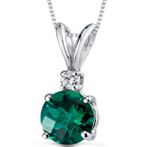 14 kt White Gold Round Cut 1.00 ct Emerald Pendant P8984