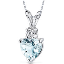 14 kt White Gold Heart Shape 0.75 ct Aquamarine Pendant P8986