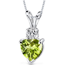 14 kt White Gold Heart Shape 1.00 ct Peridot Pendant P8994