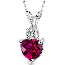 14 kt White Gold Heart Shape 1.00 ct Ruby Pendant P9002