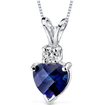 14 kt White Gold Heart Shape 1.00 ct Blue Sapphire Pendant P9004