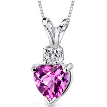 14 kt White Gold Heart Shape 1.00 ct Pink Sapphire Pendant P9006