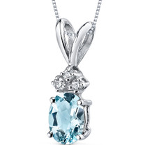 14 kt White Gold Oval Shape 0.75 ct Aquamarine Pendant P9012