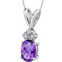 14 kt White Gold Oval Shape 0.75 ct Amethyst Pendant P9014