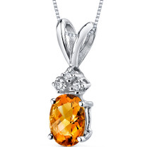 14 kt White Gold Oval Shape 0.75 ct Citrine Pendant P9016