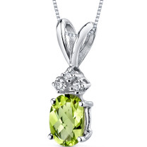 14 kt White Gold Oval Shape 1.00 ct Peridot Pendant P9020