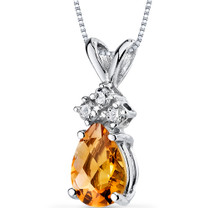 14 kt White Gold Pear Shape 0.75 ct Citrine Pendant P9042