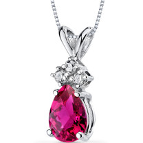 14 kt White Gold Pear Shape 1.00 ct Ruby Pendant P9054