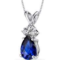 14 kt White Gold Pear Shape 1.00 ct Blue Sapphire Pendant P9056