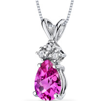 14 kt White Gold Pear Shape 1.00 ct Pink Sapphire Pendant P9058