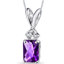 14 kt White Gold Radiant Cut 1.00 ct Amethyst Pendant P9066