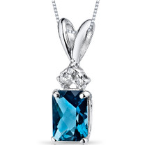 14 kt White Gold Radiant Cut 1.00 ct London Blue Topaz Pendant P9078