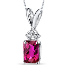 14 kt White Gold Radiant Cut 1.25 ct Ruby Pendant P9080
