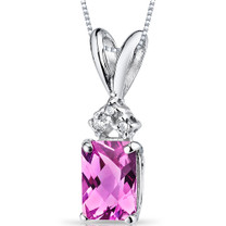 14 kt White Gold Radiant Cut 1.25 ct Pink Sapphire Pendant P9084