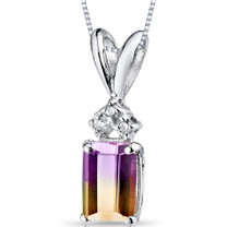 14 kt White Gold Emerald Cut 1.00 ct Ametrine Pendant P9090