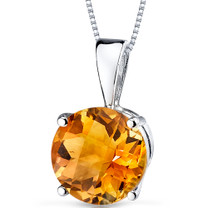 14 kt White Gold Round Cut 1.75 ct Citrine Pendant P9098