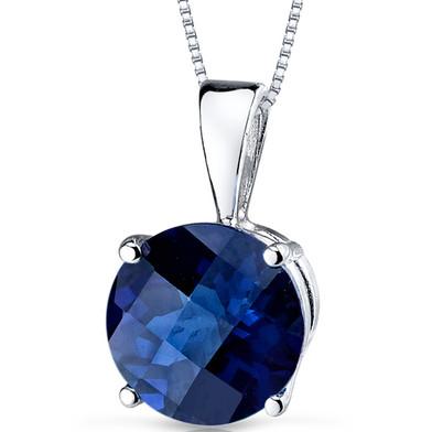 14 kt White Gold Round Cut 2.50 ct Blue Sapphire Pendant P9108