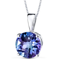 14 kt White Gold Round Cut 2.75 ct Alexandrite Pendant P9112
